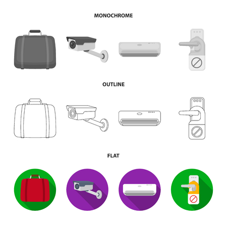 Luggage, surveillance camera, air conditioning, do not disturb the sign.Hotel set collection icons in flat,outline,monochrome style vector symbol stock illustration