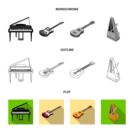 Musical instrument flat,outline,monochrome icons in set collection for design. String and Wind instrument isometric vector symbol stock  illustration.