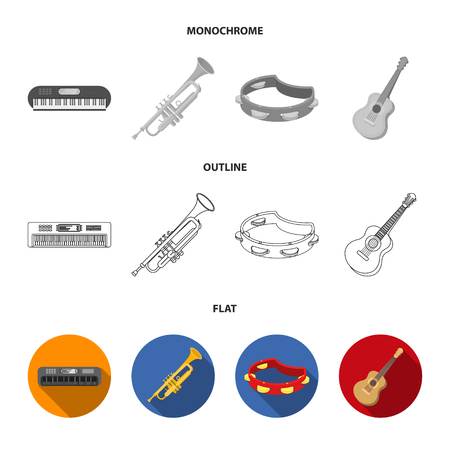 Electro organ, trumpet, tambourine, string guitar. Musical instruments set collection icons in flat,outline,monochrome style vector symbol stock illustration .
