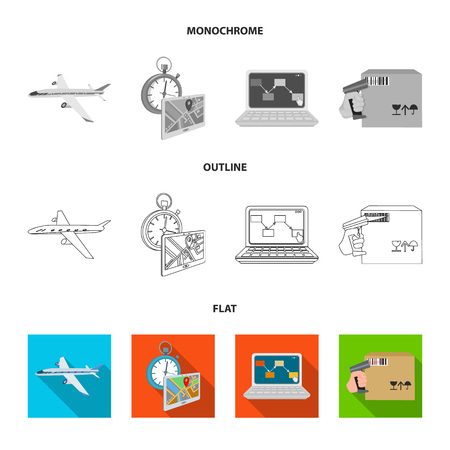 Transport aircraft, delivery on time, computer accounting, control and accounting of goods. Logistics and delivery set collection icons in flat,outline,monochrome style isometric vector symbol stock illustration .