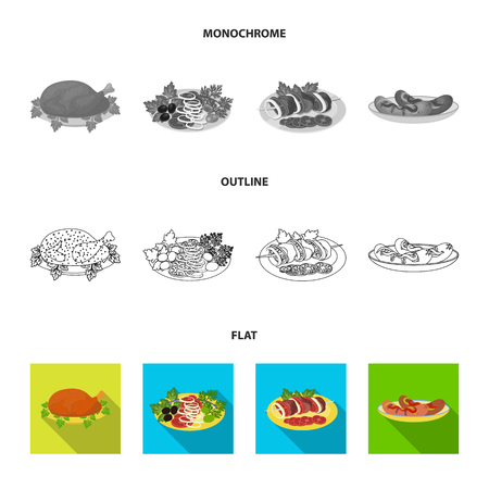 Fried chicken, vegetable salad, shish kebab with vegetables, fried sausages on a plate. Food and Cooking set collection icons in flat,outline,monochrome style vector symbol stock illustration .
