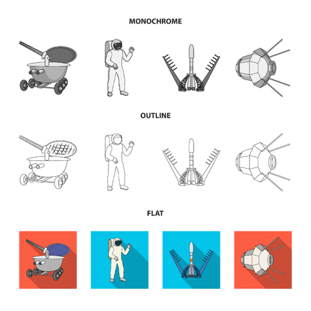 Lunokhod, space suit, rocket launch, artificial Earth satellite. Space technology set collection icons in flat,outline,monochrome style vector symbol stock illustration . Illustration