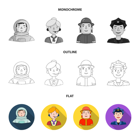 An astronaut in a spacesuit, a co-worker with a microphone, a fireman in a helmet, a policeman with a badge on his cap. People of different professions set collection icons in flat,outline,monochrome style vector symbol stock illustration . Vectores