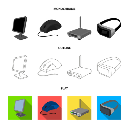 A system unit, a flash drive, a scanner and a SD card. Personal computer set collection icons in flat,outline,monochrome style vector symbol stock illustration .