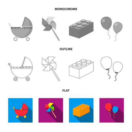 Stroller, windmill, lego, balloons.Toys set collection icons in flat,outline,monochrome style vector symbol stock illustration . Vectores