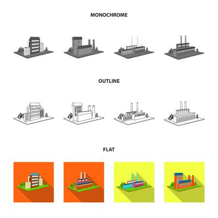 Verwerkingsfabriek, metallurgische fabriek. Fabriek en industrie instellen collectie iconen in zwart, plat, overzicht stijl isometrische vector symbool stock illustratie web.