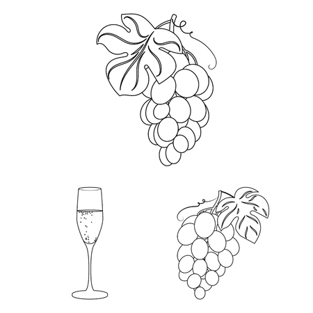 Wine products outline icons in set collection for design. Equipment and production of wine vector symbol stock web illustration. Ilustração