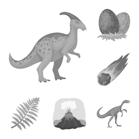 Different dinosaurs monochrome icons in set collection for design. Prehistoric animal vector symbol stock  illustration. Illustration