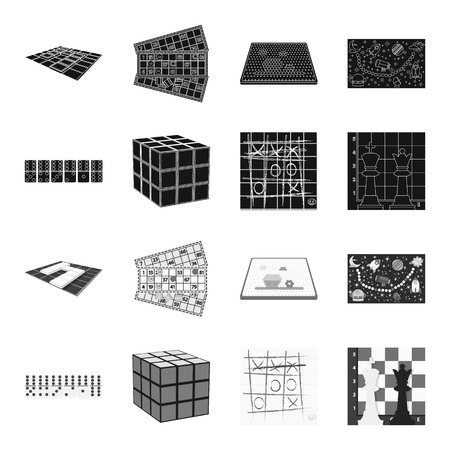 Board game black,monochrome icons in set collection for design. Game and entertainment vector symbol stock web illustration. Çizim