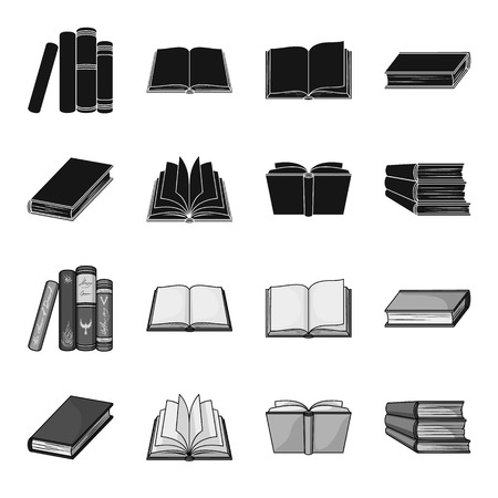 Various kinds of books. Books set collection icons in black,monochrome style vector symbol stock illustration web.
