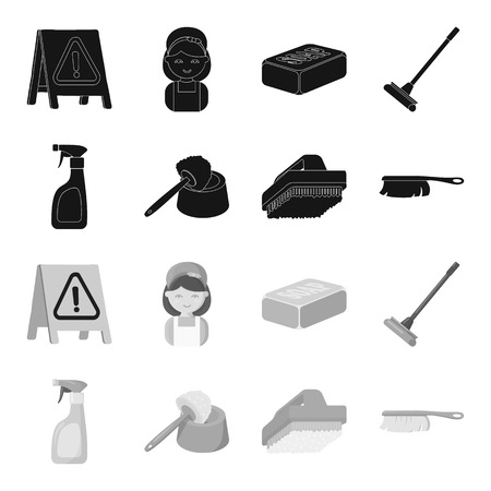 Cleaning and maid black,monochrome icons in set collection for design. Equipment for cleaning vector symbol stock web illustration.