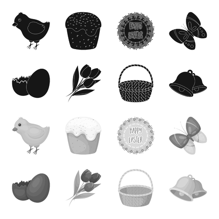 Chocolate egg, bells, basket and flowers.Easter set collection icons in black,monochrome style vector symbol stock illustration web.