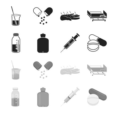 Solution, warmer, syringe, pills.Medicine set collection icons in black, monochrome style vector symbol stock illustration .