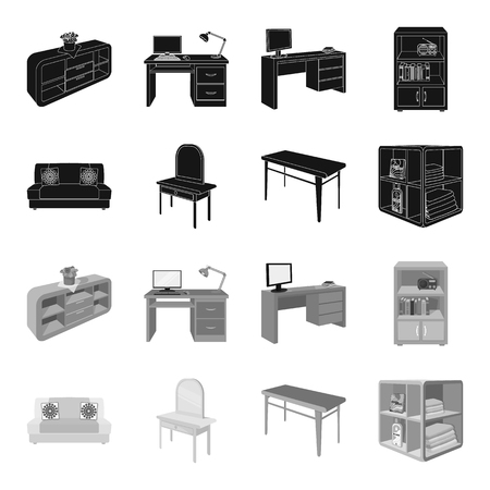 Soft sofa, toilet make-up table, dining table, shelving for laundry and detergent. Furniture and interior set collection icons in black,monochrome style isometric vector symbol stock illustration web. Ilustração