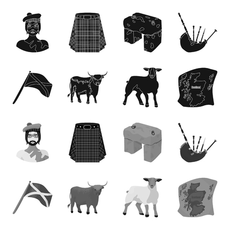 The state flag of Andreev, Scotland, the bull, the sheep, the map of Scotland. Scotland set collection icons in black,monochrome style vector symbol stock illustration .