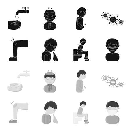 A foot with a bruise in the knee, sneezing sick, a man sitting on the toilet, a man in a medical mask. Sick set collection icons in black,monochrome style vector symbol stock illustration . Ilustração