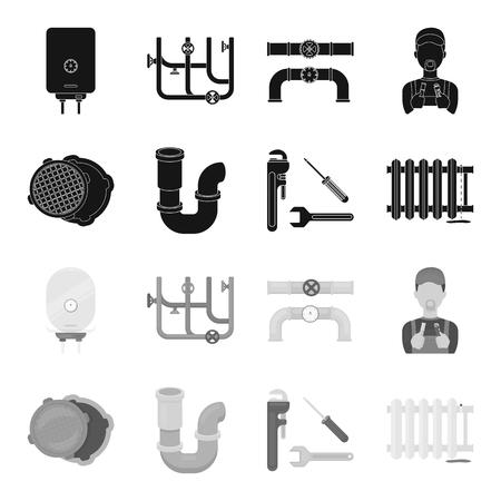 Sewage hatch, tool, radiator.Plumbing set collection icons in black,monochrome style vector symbol stock illustration . Illustration