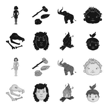 Woman, hair, face, bonfire .Stone age set collection icons in black,monochrome style vector symbol stock illustration . Stock Illustratie