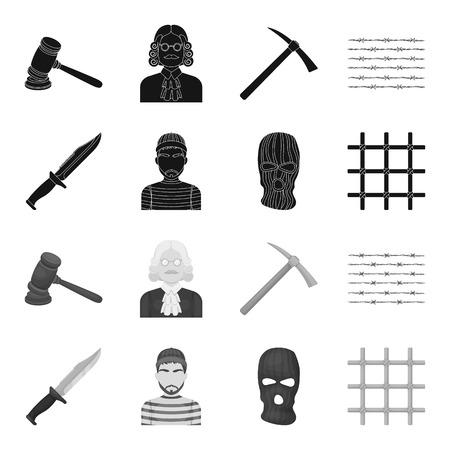 Knife, prisoner, mask on face, steel grille. Prison set collection icons in black,monochrome style vector symbol stock illustration . Illustration