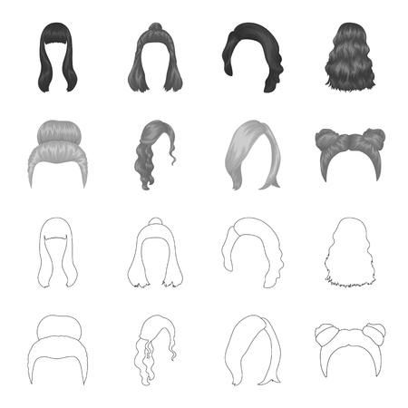 Blond with a bunch, red wavy and other types of hair. Back hair set collection icons in outline,monochrome style vector symbol stock illustration . Иллюстрация