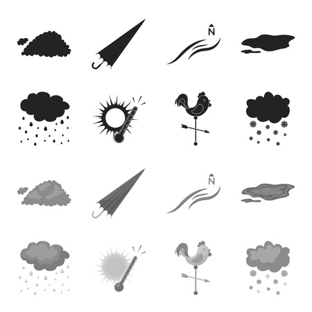 Rain, snow, heat, weathervane. The weather set collection icons in black,monochrome style vector symbol stock illustration . Illustration