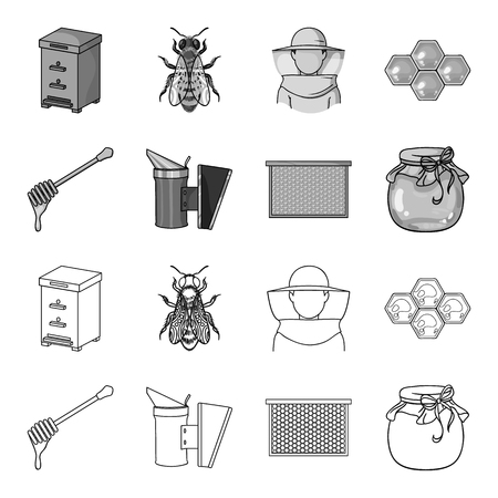 A frame with honeycombs, a ladle of honey, a fumigator from bees, a jar of honey.Apiary set collection icons in outline,monochrome style vector symbol stock illustration .