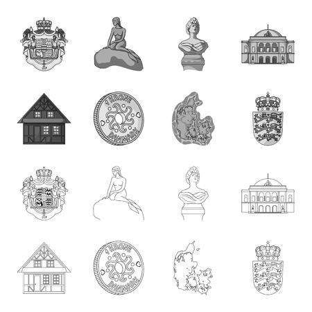 House, residential, style, and other  icon in outline,monochrome style. Country, Denmark, sea icons in set collection Illusztráció