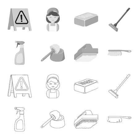 Cleaning and maid outline,monochrome icons in set collection for design. Equipment for cleaning vector symbol stock illustration.