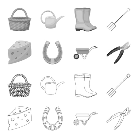 Cheese with holes, a trolley for agricultural work, a horseshoe made of metal, a pruner for cutting trees, shrubs. Farm and gardening set collection icons in outline,monochrome style vector symbol stock illustration .