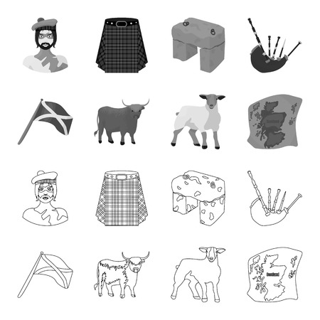 The state flag of Andreev, Scotland, the bull, the sheep, the map of Scotland. Scotland set collection icons in outline,monochrome style vector symbol stock illustration .