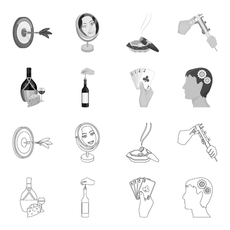 Bottle, a glass of wine and cheese, clogging with a corkscrew and other icon in outline,monochrome style. A combination of cards in hand, a person head and an idea generator icons in set collection. Ilustracja