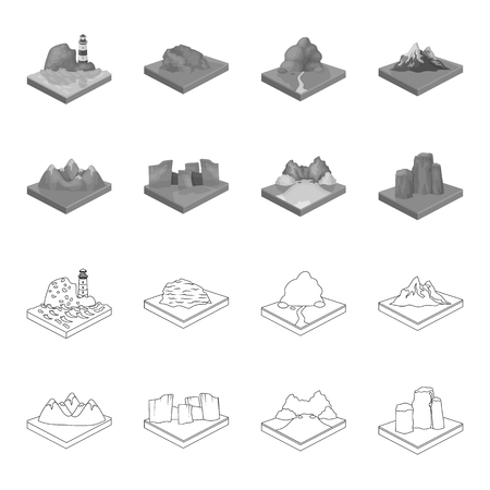 Mountains, rocks and landscape. Relief and mountains set collection icons in outline,monochrome style isometric vector symbol stock illustration . Illusztráció