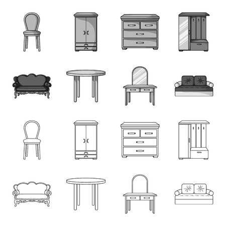 Sofa, armchair, table, mirror .Furniture and home interiorset collection icons in outline,monochrome style vector symbol stock illustration .