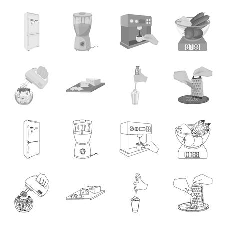 , jam, diet, accessories and other  icon in outline,monochrome style.cook, equipment, appliance icons in set collection