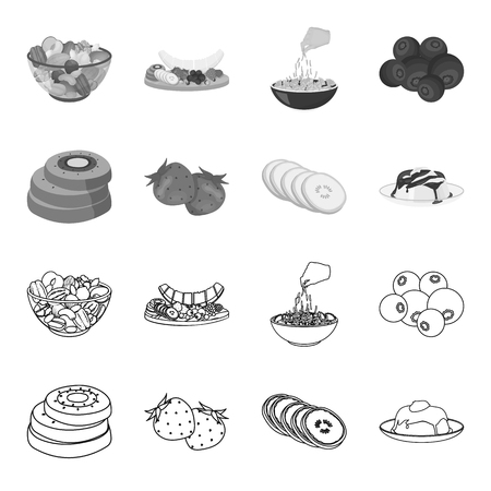 Fruits and other food. Food set collection icons in outline,monochrome style vector symbol stock illustration .