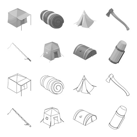 Spinning for fishing, tent, thermos.Tent set collection icons in outline,monochrome style vector symbol stock illustration .