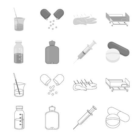 Solution, warmer, syringe, pills.Medicine set collection icons in outline,monochrome style vector symbol stock illustration . Illustration