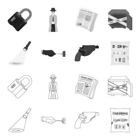 The detective flashlight illuminates the footprint, the criminal hand with the master key, a pistol in the holster, the kidnapper claim. Crime and detective set collection icons in outline,monochrome style vector symbol stock illustration .