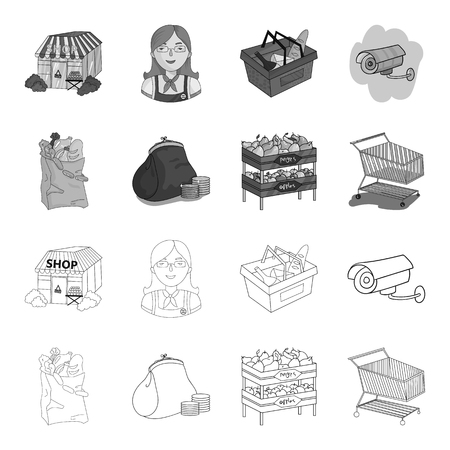 Sausages, fruit, cart .Supermarket set collection icons in outline,monochrome style vector symbol stock illustration .