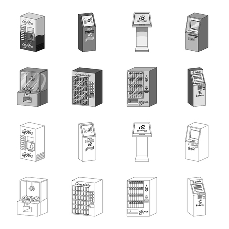 A game machine, a ticket sales terminal, an automaton for selling aqua and chocolate. Terminals set collection icons in outline,monochrome style isometric vector symbol stock illustration  . Ilustrace