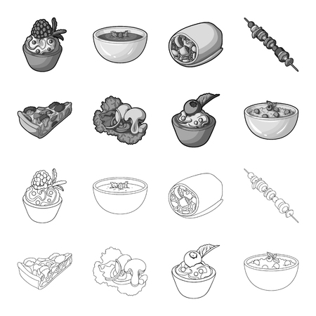 Piece of vegetarian pizza with tomatoes, lettuce leaves with mushrooms, blueberry cake, vegetarian soup with greens. Vegetarian dishes set collection icons in outline,monochrome style vector symbol stock illustration .