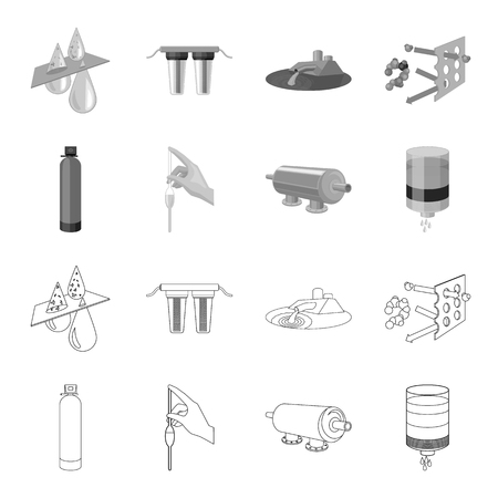 Purification, water, filter, filtration .Water filtration system set collection icons in outline,monochrome style vector symbol stock illustration . Illustration