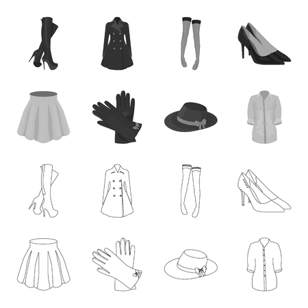 Skirt with folds, leather gloves, women hat with a bow, shirt on the fastener. Women clothing set collection icons in outline,monochrome style vector symbol stock illustration .