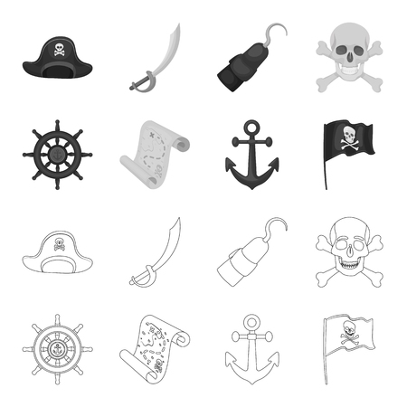 Pirate, bandit, rudder, flag .Pirates set collection icons in outline,monochrome style vector symbol stock illustration .