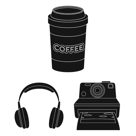Style Hipster black icons in set collection for design. Hipster Attributes and accessories vector symbol stock web illustration. Vektoros illusztráció