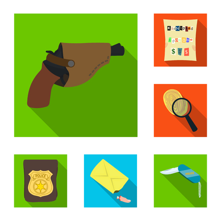 Detective agency flat icons in set collection for design. Crime and investigation vector symbol stock  illustration. Illustration