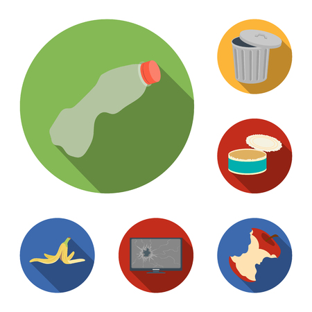 Garbage and waste flat icons in set collection for design. Cleaning garbage vector symbol stock  illustration. 일러스트