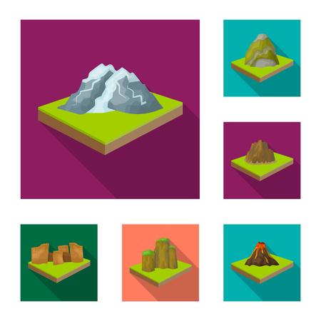 Montañas, iconos planos masivos de colección set de diseño. La superficie de la ilustración común del símbolo isométrico del vector de la tierra.