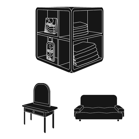 Furniture and interior black icons in set collection for design. Home furnishings vector isometric symbol stock web illustration.