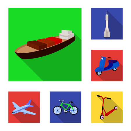 Different types of transport flat icons in set collection for design. Car and ship vector symbol stock web illustration. 版權商用圖片 - 101176113